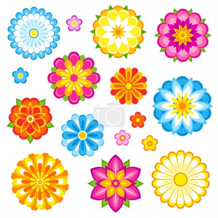 Illustration for Decorative flowers set. Vector EPS8. - Royalty Free Image