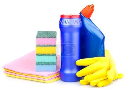 Foto de Primer planos artículos de limpieza, aislados en blanco - Imagen libre de derechos