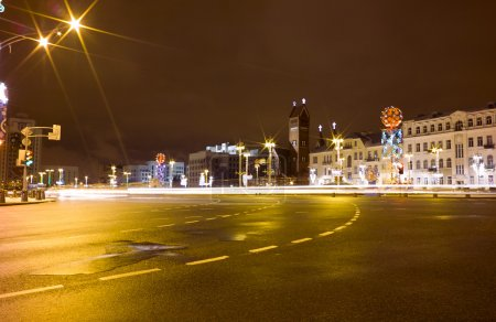 Independence square at night Minsk