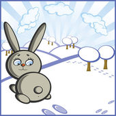 The Bunny jumps on background of winter landscape The Symbol of new year on Chinese calendar