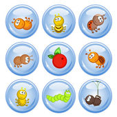 A set of buttons Cheerful comical insects in different poses Isolated Icons