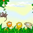 Vector cartoon background. Jungle. The frame of th...