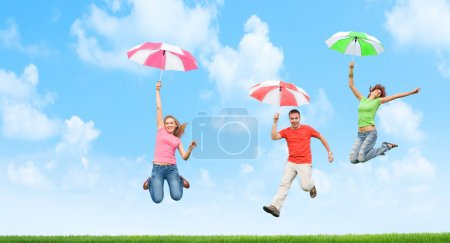 Jumping with umbrellas
