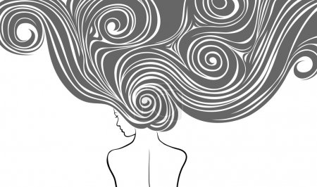 Illustration for Woman with very long and stilysh hairs - Royalty Free Image