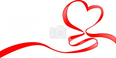 Illustration for Red ribbon with heart's shape for Valentine's day - Royalty Free Image