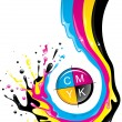 Conceptual illustration. Liquid CMYK paint move down with splashes and drops.