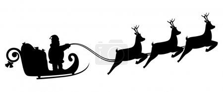 Santa Claus fly in a sleigh