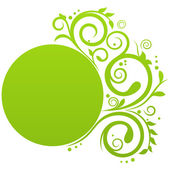 Round banner in green color with floral decoration and free space for Your text