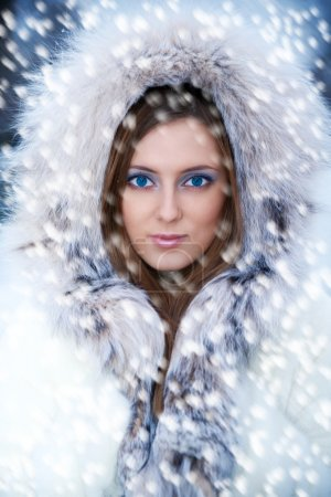 Photo for Beautiful young woman in winter fur coat. Winter portrait - Royalty Free Image