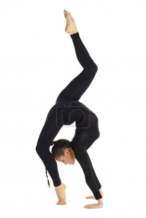 Gymnastic posing on white
