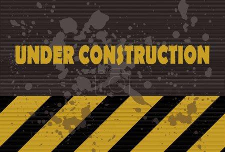 Illustration pour En construction signe style grunge - image libre de droit