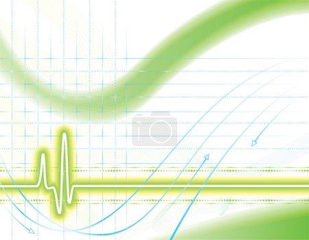 Illustration pour Fond vert néon et bleu avec cardiogramme - image libre de droit