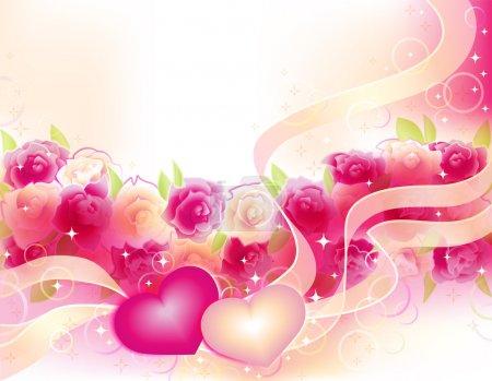 Illustration pour Horizontall vecteur fond romantique avec des roses et deux cœurs - image libre de droit