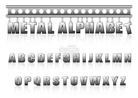 alphabet métal Vector avec boulons et rayures