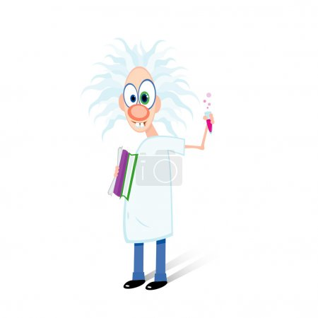 Illustration for Vector illustration of dishevelled crazy professor holding test-tube - Royalty Free Image