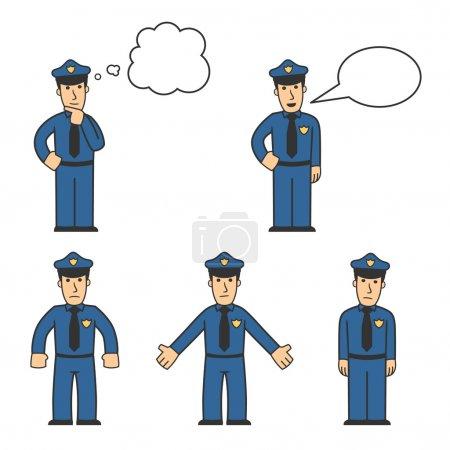 Photo pour Jeu de policier dans des poses différentes sur fond blanc - image libre de droit