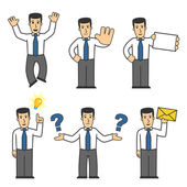 Set of office worker in different poses