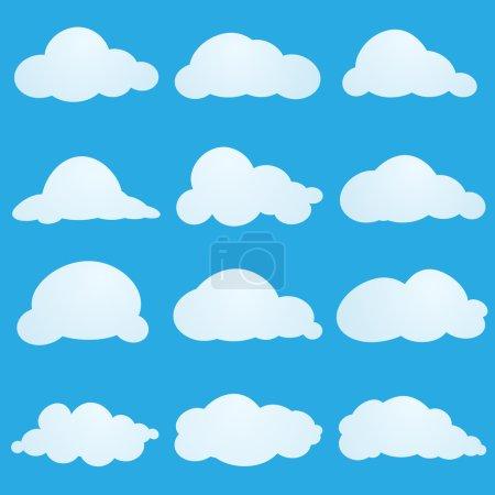 Illustration pour Ensemble de nuages de dessin animé - image libre de droit
