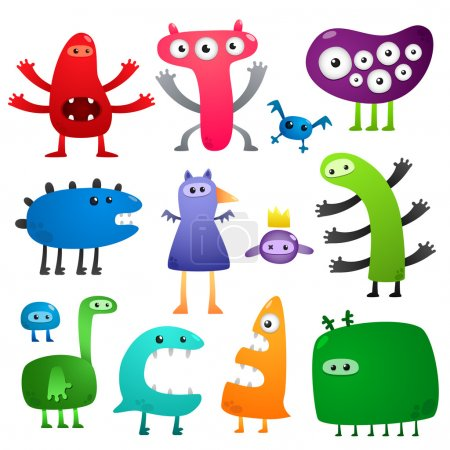 Illustration for Collection of cartoon colored crazy funny monsters - Royalty Free Image