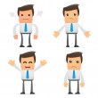 Set of funny cartoon office worker in various pose...