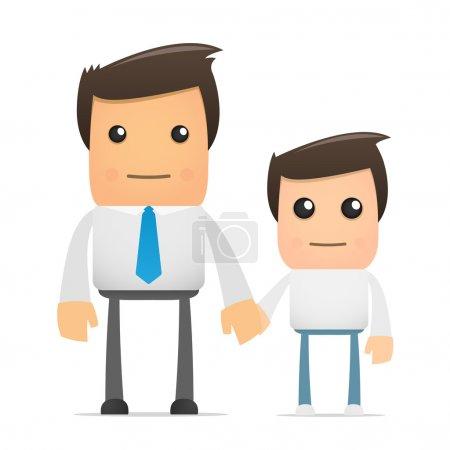 Illustration pour Illustration d'un employé de bureau de dessin animé et de son fils - image libre de droit