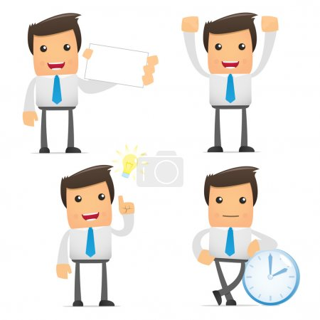 Illustration for Set of funny cartoon office worker in various poses for use in presentations, etc. - Royalty Free Image