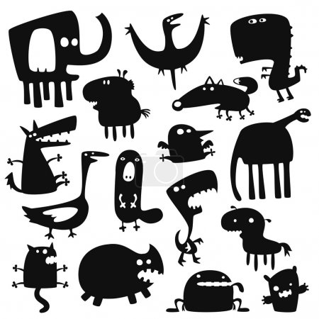 Illustration for Collection of cartoon funny vector animals silhouettes - Royalty Free Image