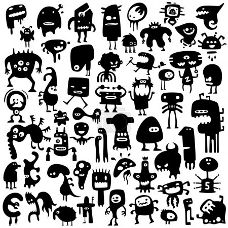 Illustration for Big collection of cartoon funny monsters silhouettes - Royalty Free Image