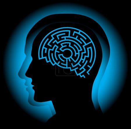 Illustration for Abstract image symbolizing the human brain as a maze. Vector. - Royalty Free Image