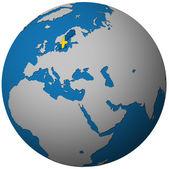 Švédsko vlajka na mapě světa