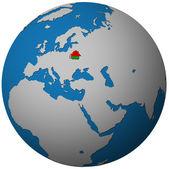 Vlajka Běloruska na mapě světa