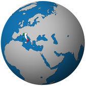 Vlajka Itálie na mapě světa