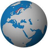 Norsko vlajka na mapě světa