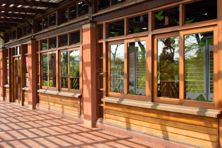 Photo for Traditional Chinese wooden building with series windows - Royalty Free Image