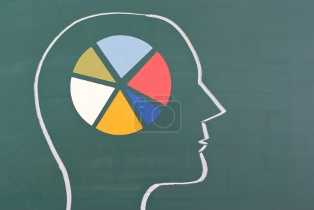 Photo for Human brain graph with colorful chart on blackboard - Royalty Free Image