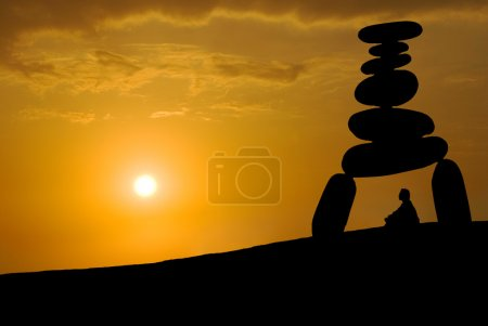 Photo for Face huge stress, meditation under sunset, Zen concept. - Royalty Free Image