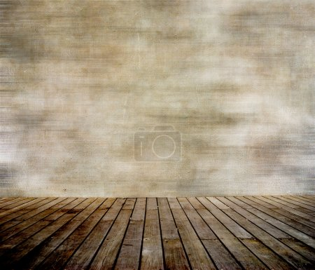 Photo for Grunge wall and wood paneled floor, interior of a room. - Royalty Free Image