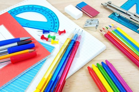 Photo for School equipment on writing desk - Royalty Free Image
