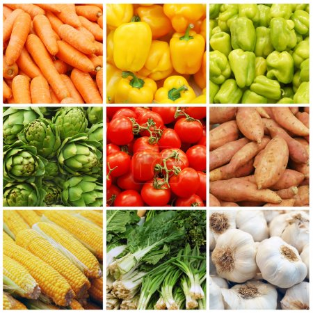 Photo for Vegetable collage made from nine images - Royalty Free Image