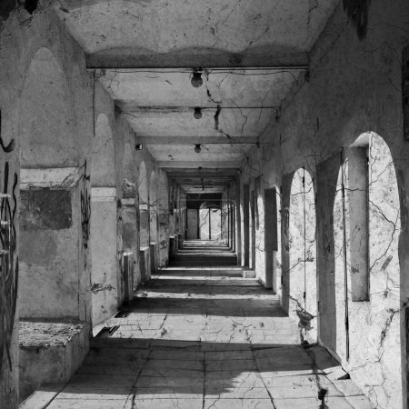 Photo for Abandoned Tunnel, abstract background. Black and white square picture with a linear perspective. - Royalty Free Image