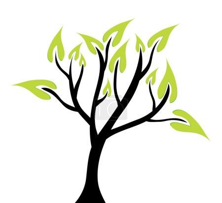 Illustration pour Arbre vert abstrait, symbole de la nature - image libre de droit