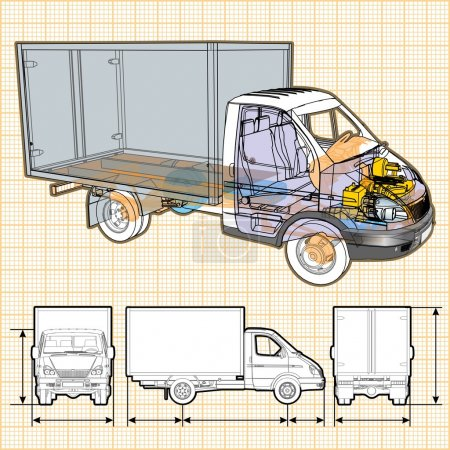 Illustration for Vector delivery / cargo truck infographics cutaway - Royalty Free Image