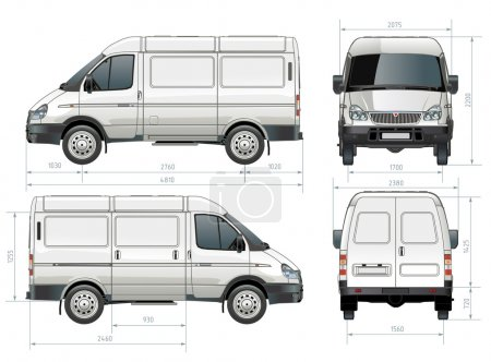 Illustration for Vector delivery / cargo van in dimensions. Available ai-10 vector format separated by groups for easy edit. - Royalty Free Image