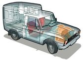 Vector detailed delivery / cargo van infographics cutaway Available ai-10 vector format separated by groups for easy edit