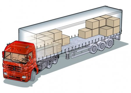 Vector cargo semi-truck infographics cutaway