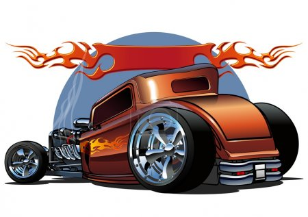 Illustration for Cartoon hotrod 1930s. Available ai-10 vector format separated by groups for easy edit. - Royalty Free Image