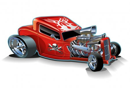 Illustration for Vector cartoon hotrod. Available ai-10 vector format - Royalty Free Image