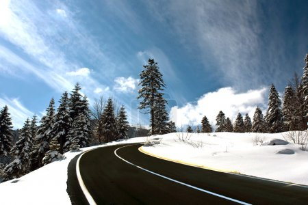 Mountain road in snow