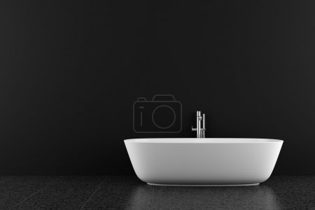 Modern bathroom with black floor and wall