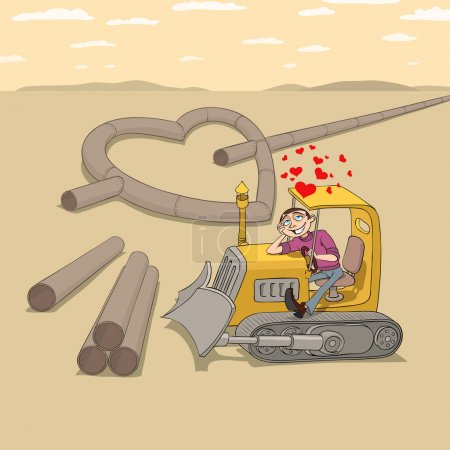 Illustration for Tractor driver is falling in love and dreaming of his girlfriend - Royalty Free Image